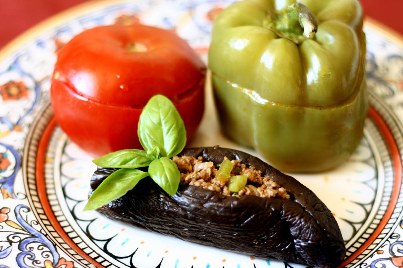Stuffed Eggplants, Peppers and Tomatoes - AZ Cookbook