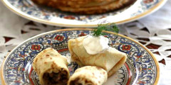 Meat Stuffed Blinchiki (Crêpes)