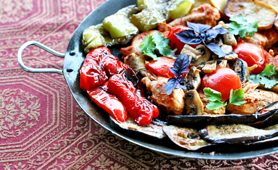 Saj-Fried Chicken with Vegetables