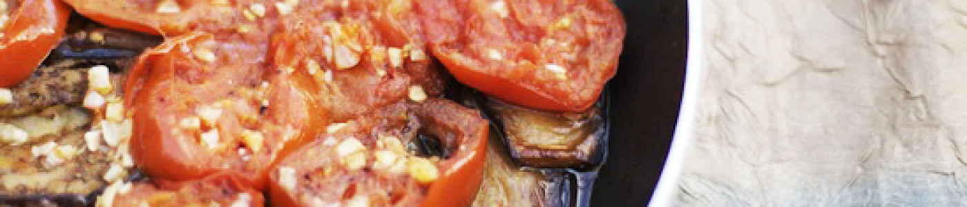 Garlicky Eggplant with Tomatoes