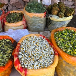 Dried Herbs Market in Lahij, Azerbaijan