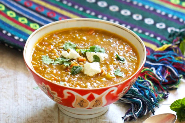 Tajik Green Lentil and Rice Soup | AZCookbook.com