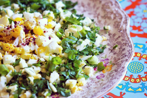 Daffodil-Like Egg Salad (Nergisleme) | AZCookbook.com