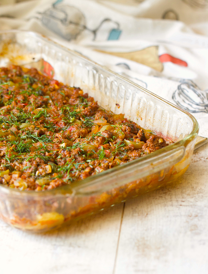 Layered Zucchini Casserole with Meat Sauce | AZCookbook.com