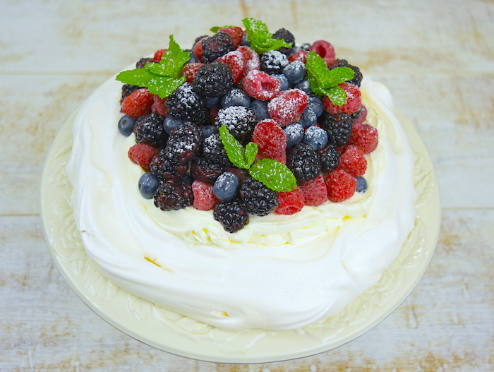 Fresh Berry Pavlova Cake | AZCookbook.com