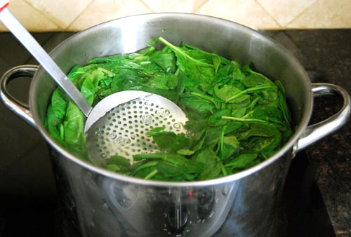 Blanching Spinach