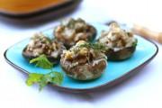 Mushrooms Stuffed with Eggplant, Walnuts and Fresh Herbs