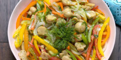 Crunchy Vegetable Salad with Marinated Mushrooms | AZCookbook.com