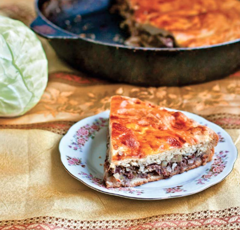 Cabbage and Meat Pie, Tzkan | AZCookbook.com