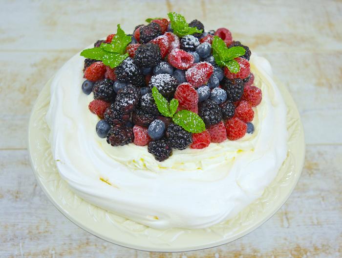 Fresh Berry Pavlova Cake | AZCookbook.com